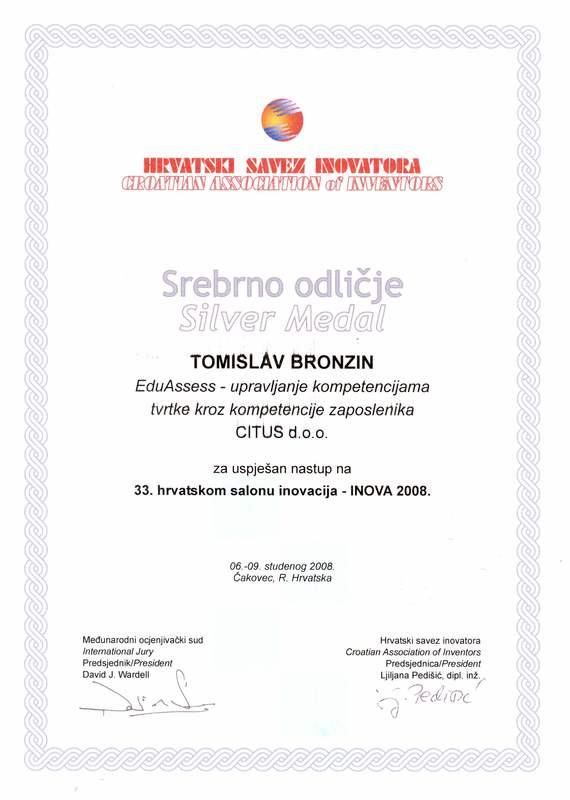 Srebrna medalja, INOVA Hrvatska, 2008.