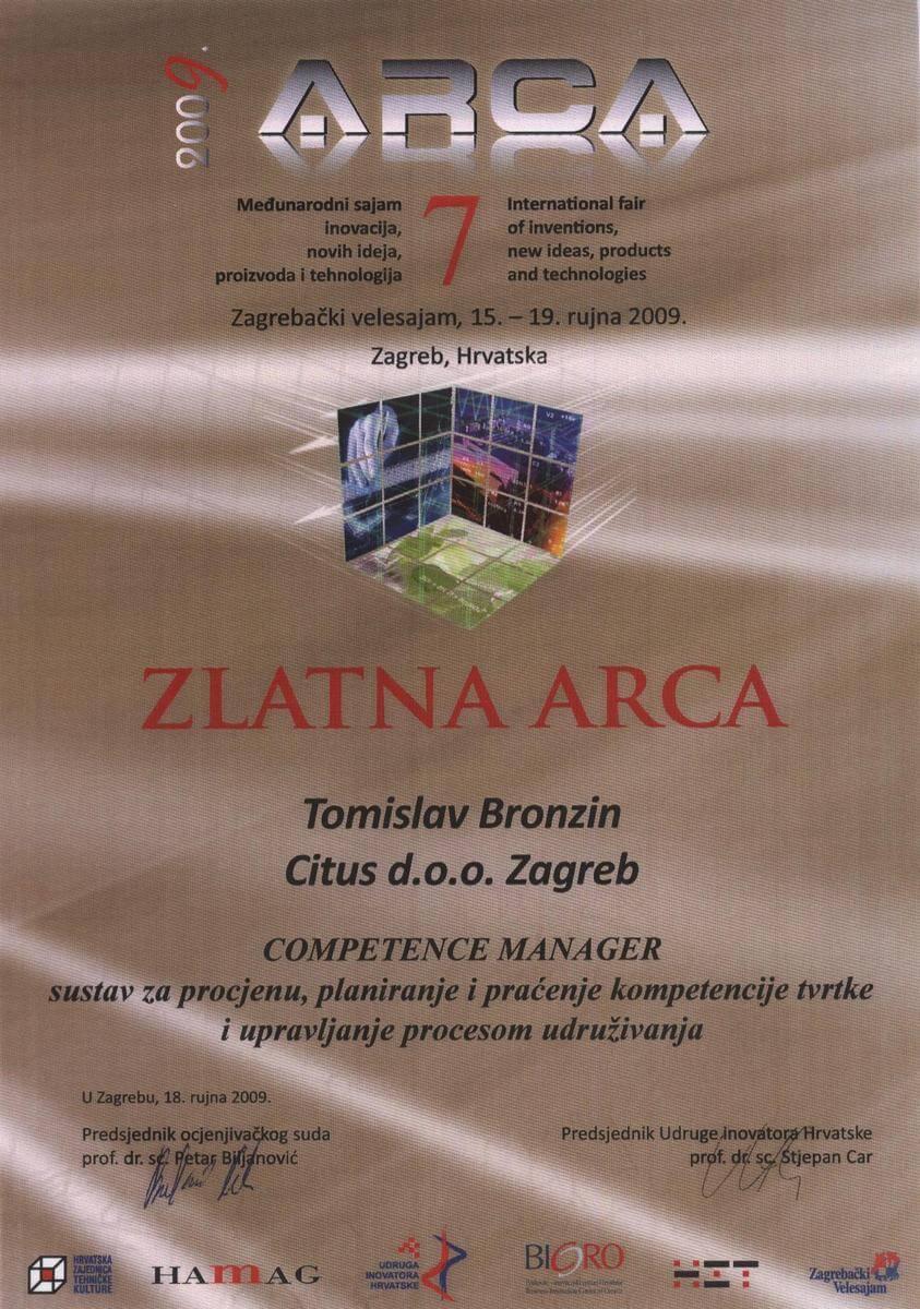 Zlatna medalja, ARCA Hrvatska, 2009.