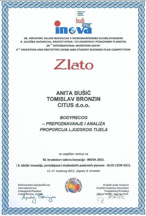Zlatna medalja, INOVA Hrvatska, 2013.