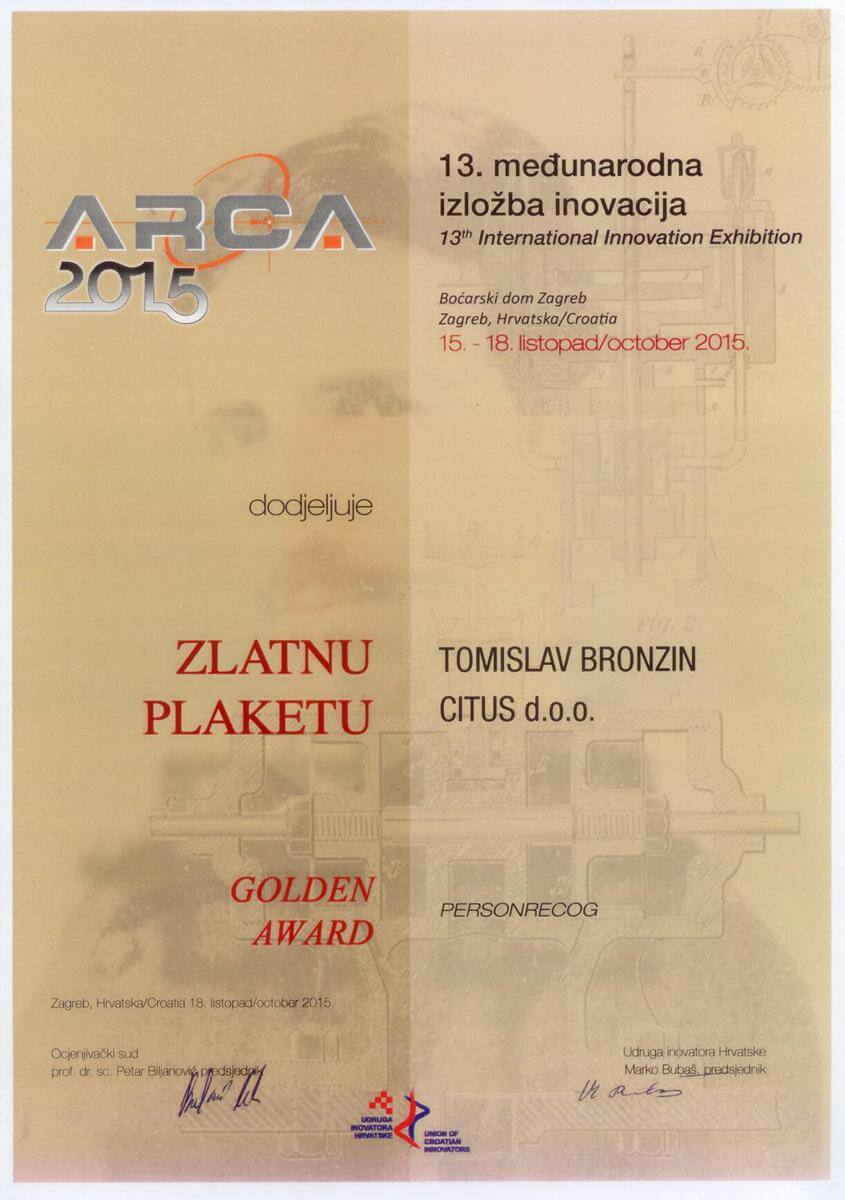 Golden Award, ARCA Croatia, 2015