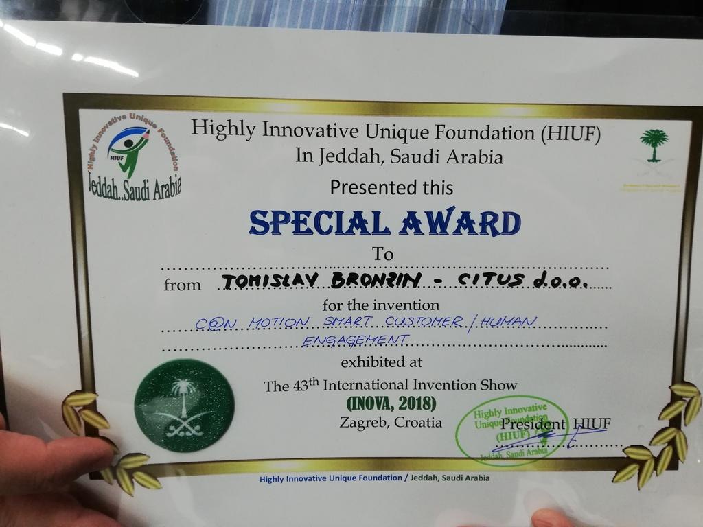 Special Award, INOVA Zagreb. 2018.