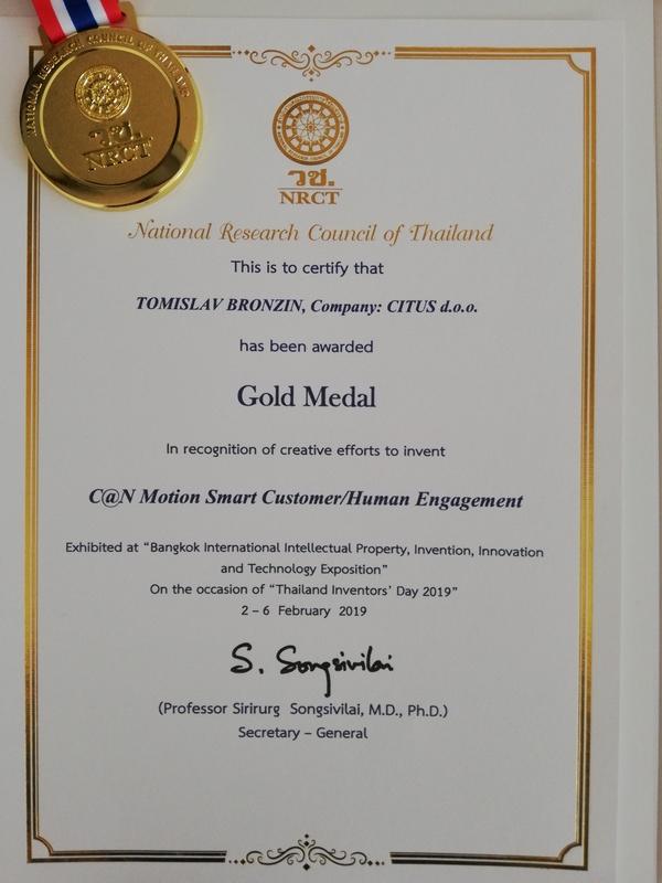 C@N Motion zlatna medalja, IPITEX, Tajland