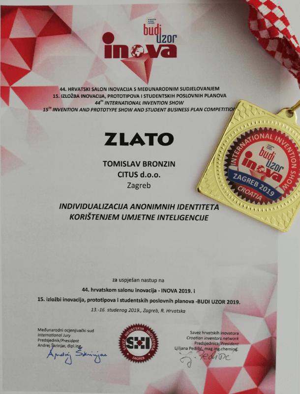 Zlatna medalja, INOVA Hrvatska, 2019..