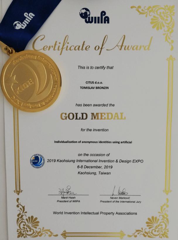 Zlatna medalja, KIDE Tajvan, 2019.