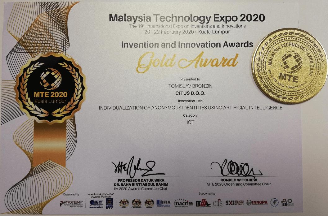 Zlatna medalja, MTE Malezija, 2020.