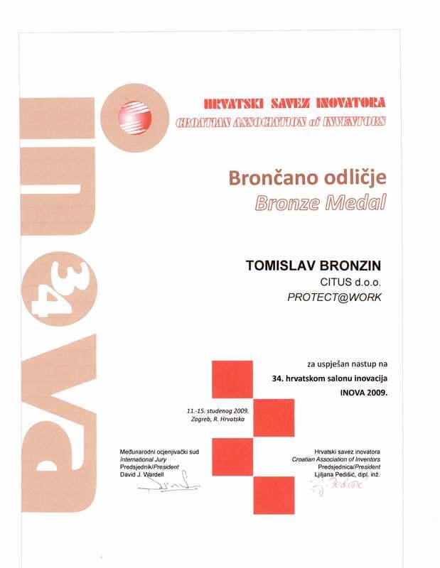 Bronze Medal, INOVA Croatia, 2009