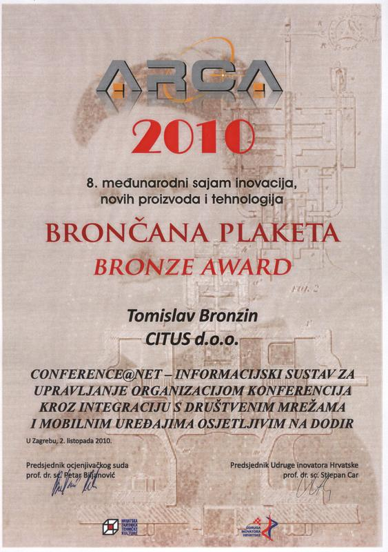 Bronze Award, ARCA Croatia 2010