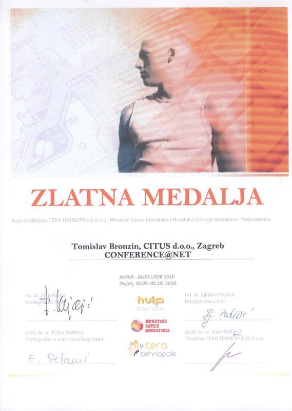 Zlatna medalja, INOVA Hrvatska 2010.