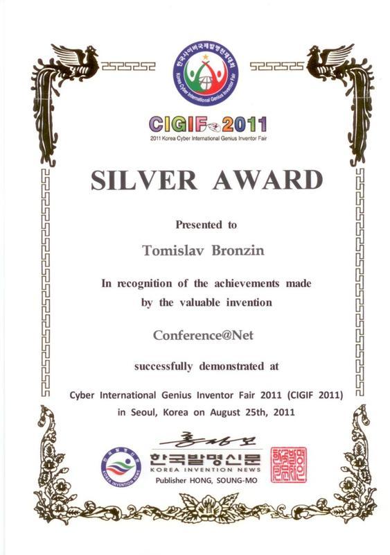 Srebrna medalja, CIGIF, južna Koreja 2011.