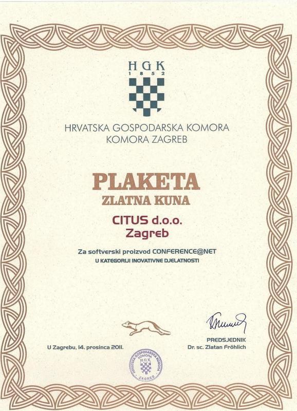 Plaketa Zlatna kuna, HGK Hrvatska 2011.