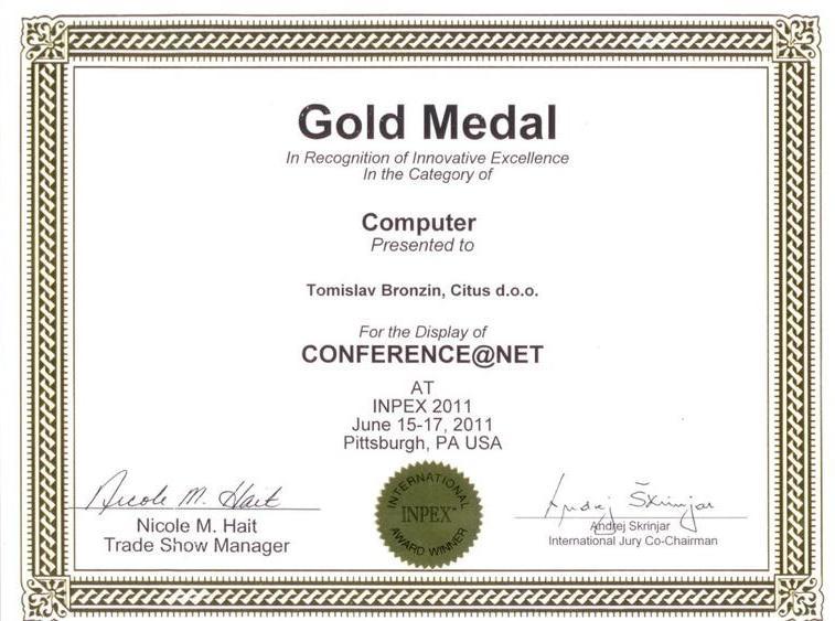 Zlatna medalja, INPEX SAD 2011.