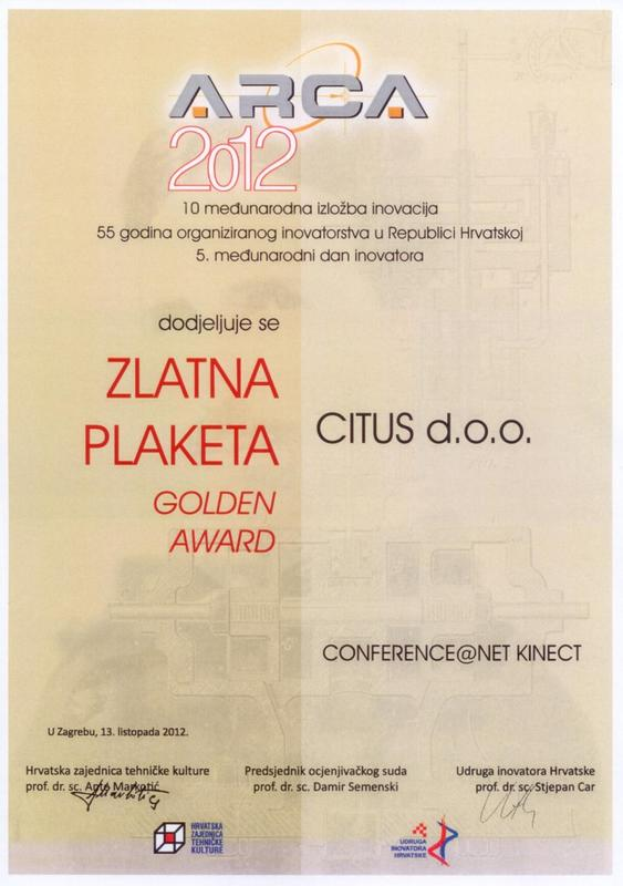 Zlatna medalja, ARCA Hrvatska 2012.