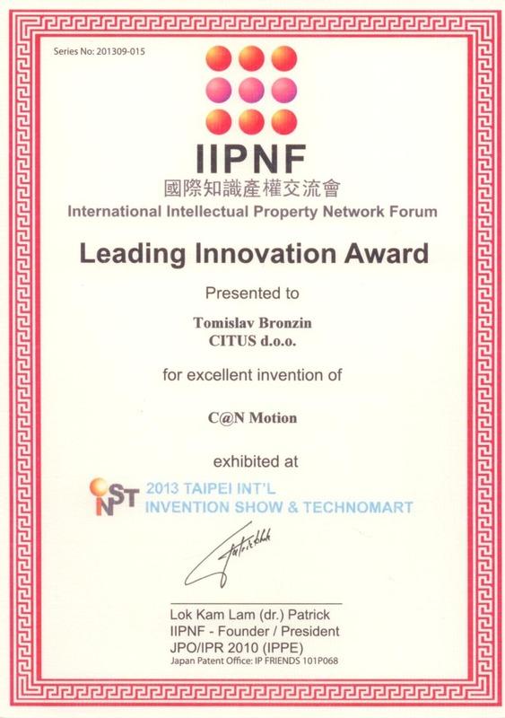 Leading Innovation Award, INST Tajvan 2013.