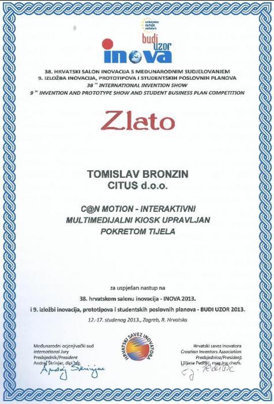 Zlatna medalja, INOVA Hrvatska 2013.