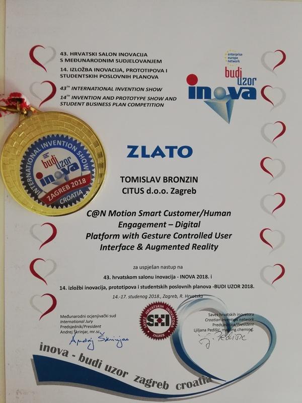 Zlatna medalja, INOVA Hrvatska 2018.