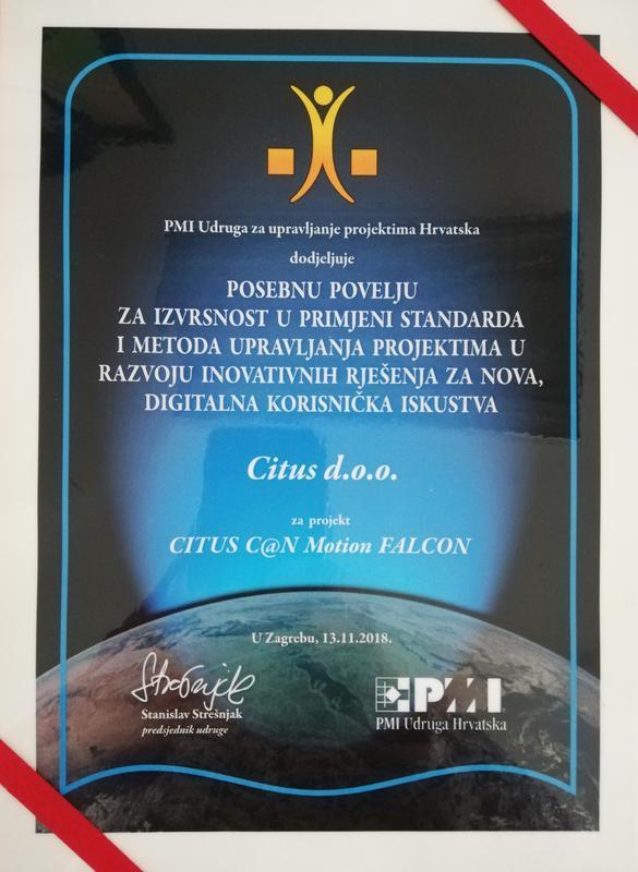 Posebna povelja, PMI Hrvatska 2018.