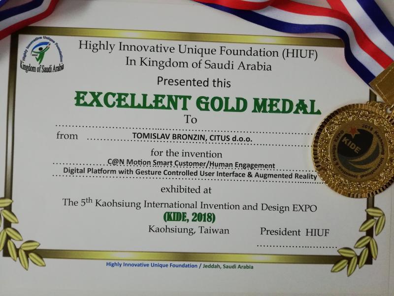 Zlatna medalja fondacije HIUF, KIDE Tajvan 2018.