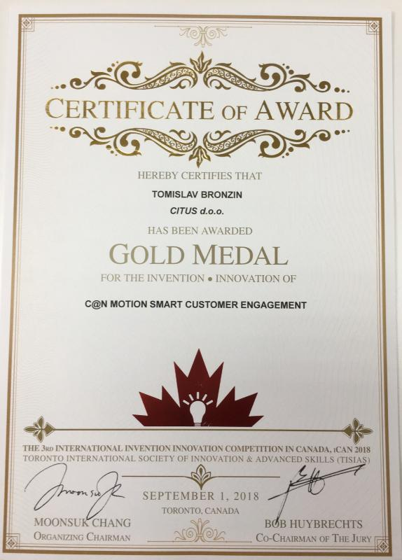 Gold Medal, iCAN Canada 2018
