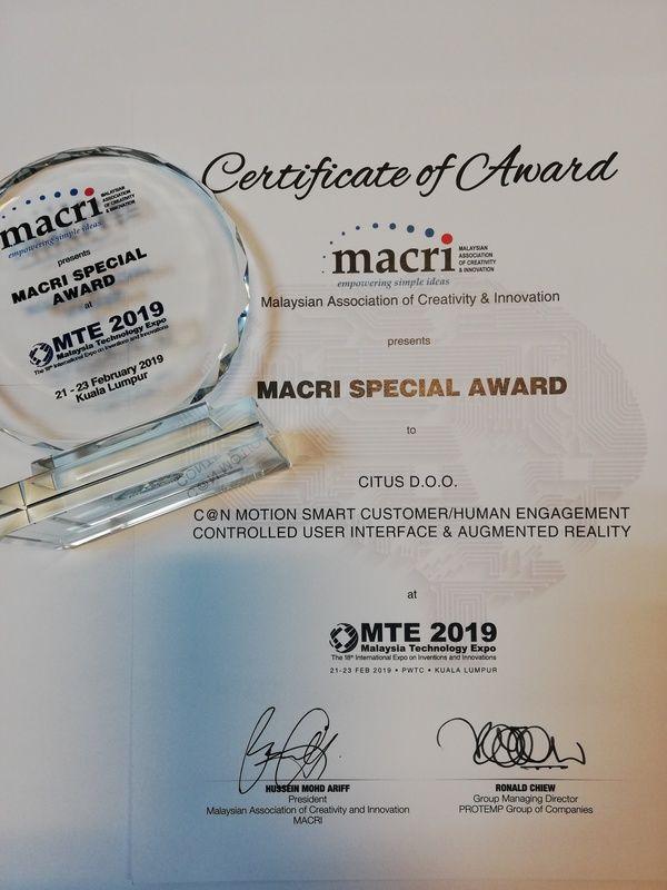 Macri Special Award, MTE Malezija 2019.