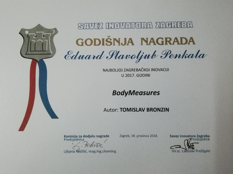 Annual Eduard Slavoljub Penkala Award for the Best Zagreb Innovation in 2017 for BodyMeasures