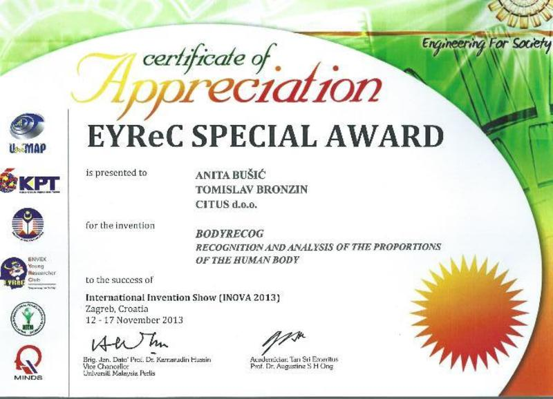 EYRec Special Award za BodyRecog, INOVA Hrvatska, 2013.