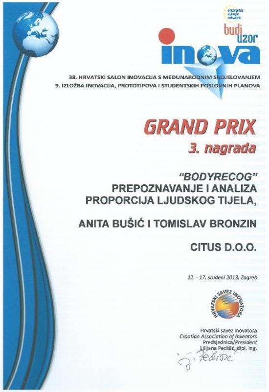 Grand prix 3. nagrada za BodyRecog, INOVA Hrvatska, 2013.