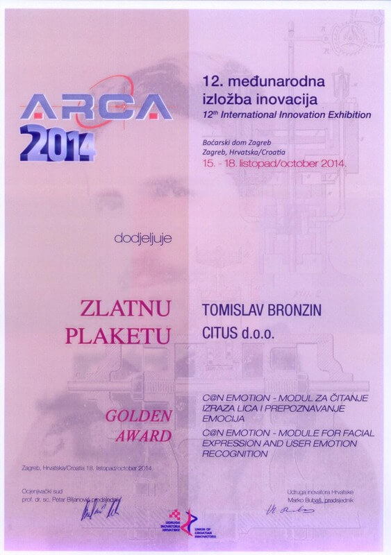 Golden Award, ARCA Croatia 2014