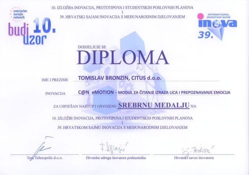 Srebrna medalja, INOVA Hrvatska 2014.