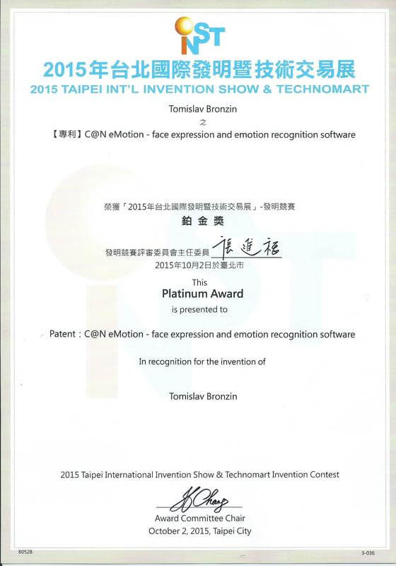 Platinum Award, INST Taiwan 2015