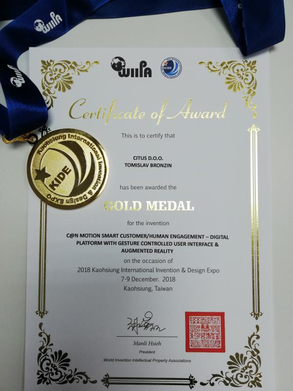 Gold Medal for Innovation, KIDE Taiwan