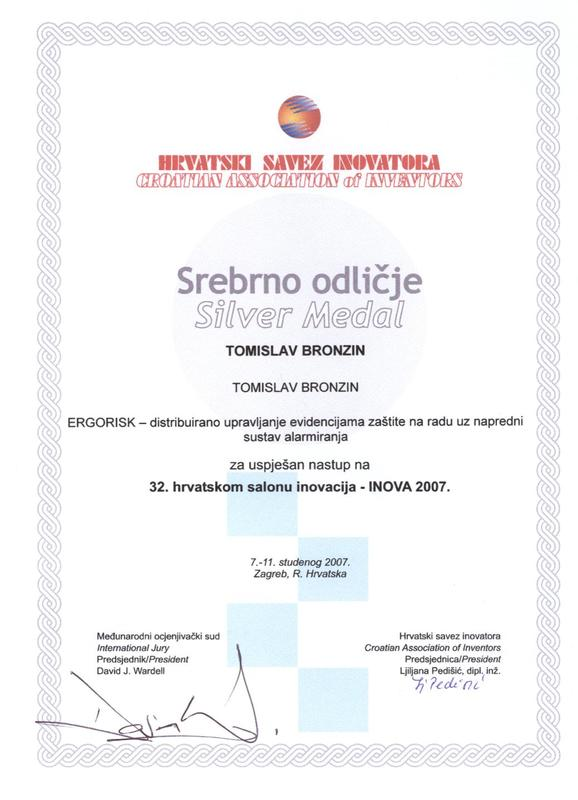 Srebrna medalja za inovaciju Ergorisk, INOVA Hrvatska, 2007.