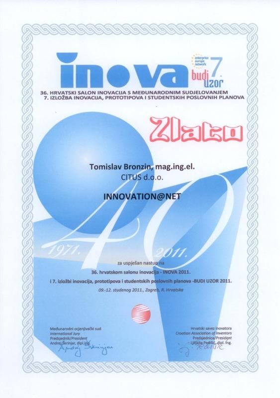 Zlatna medalja, INOVA Hrvatska, 2011.