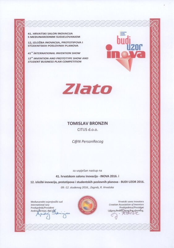 Gold Medal, INOVA Croatia 2016