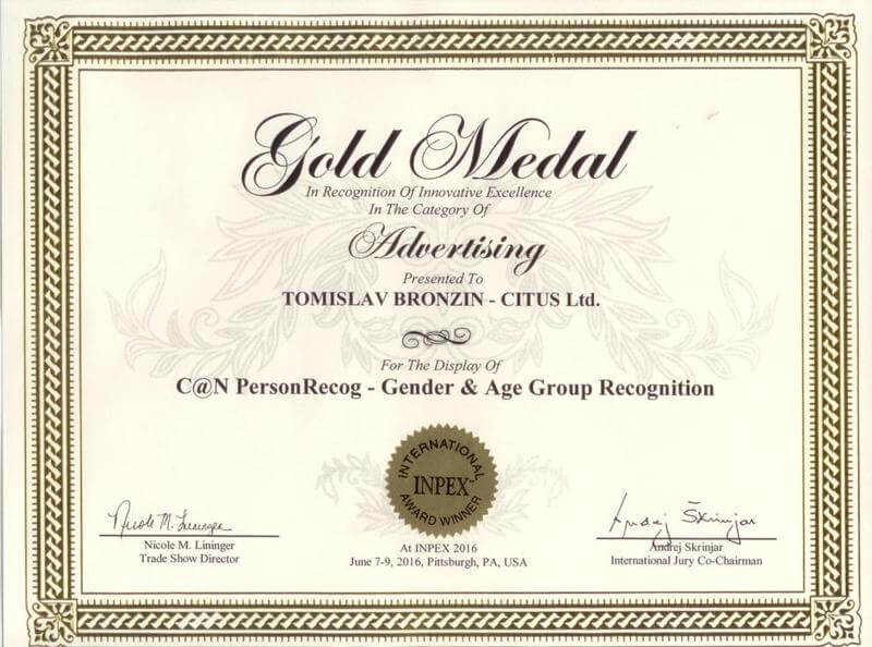 Zlatna medalja, INPEX SAD 2016.