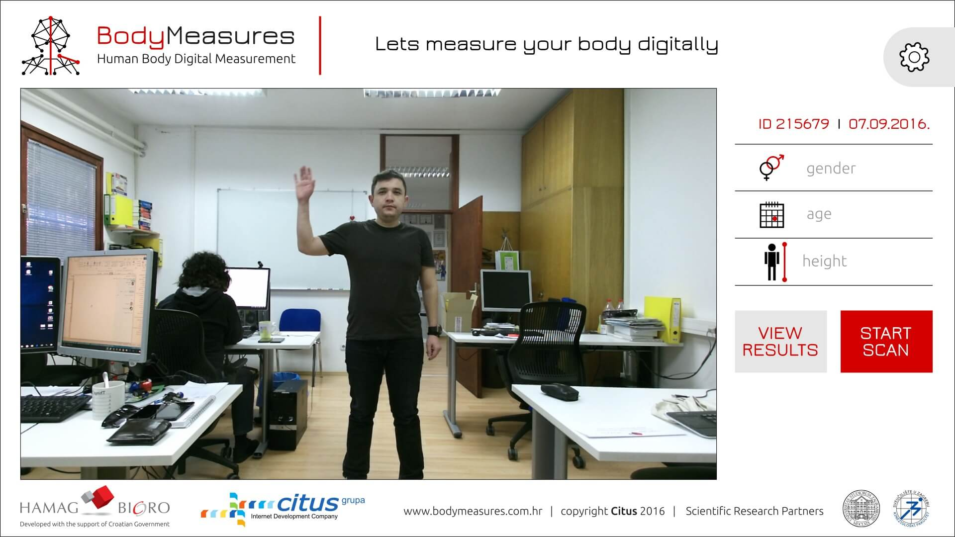 BodyMeasures - početni ekran
