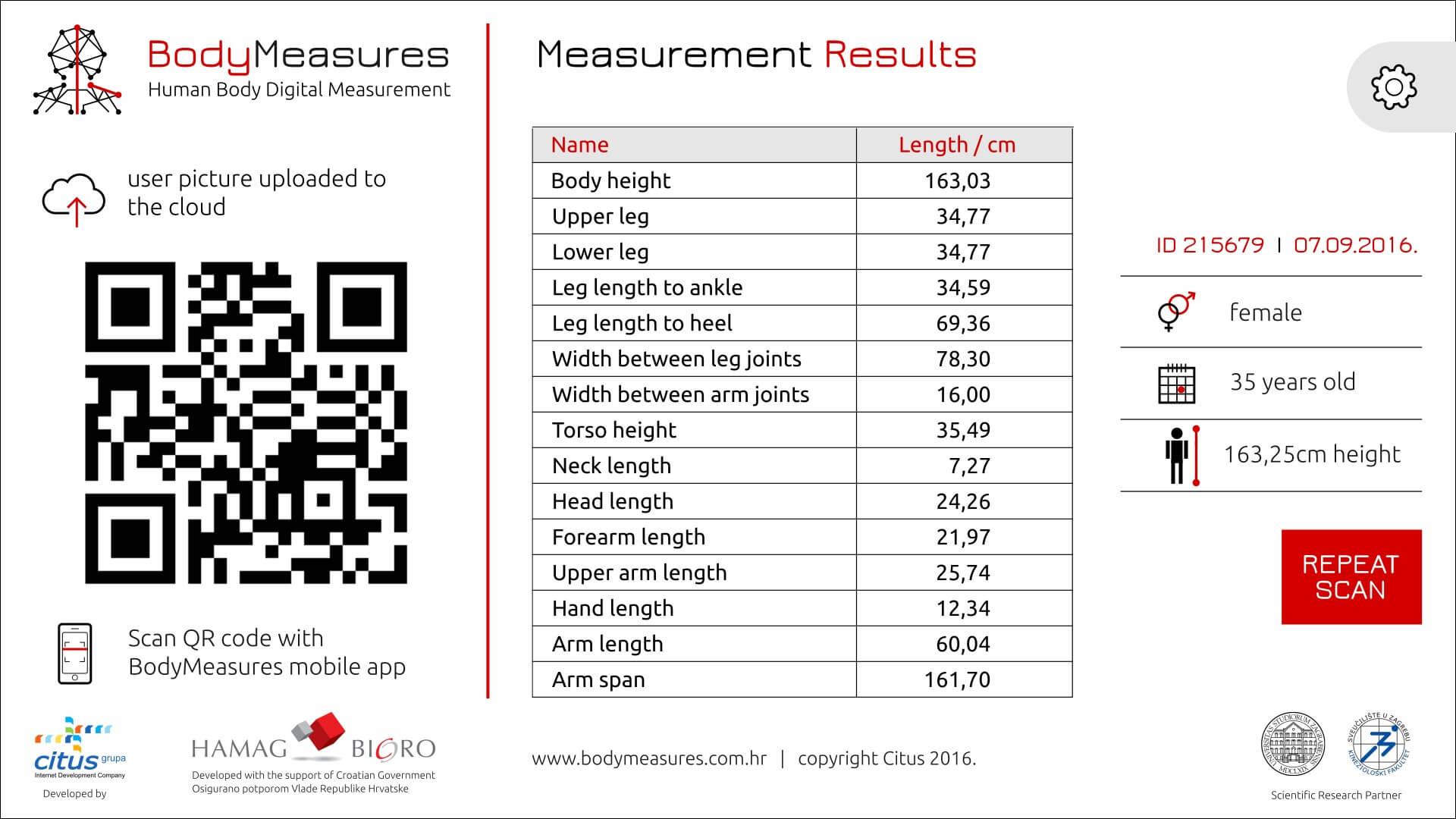 BodyMeasures - ekran s rezultatima