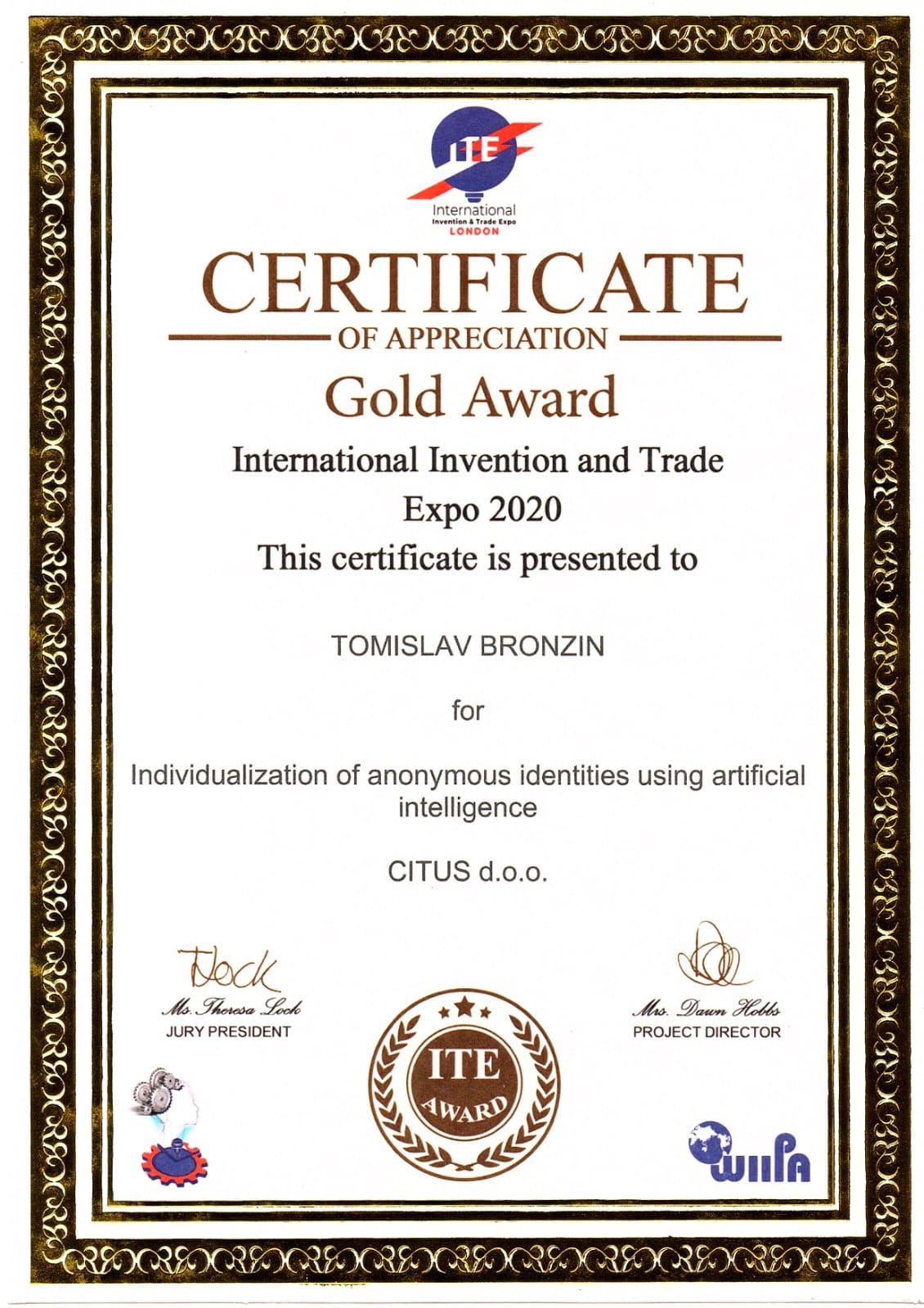 Gold Medal, ITE London, Great Britain, 2020.