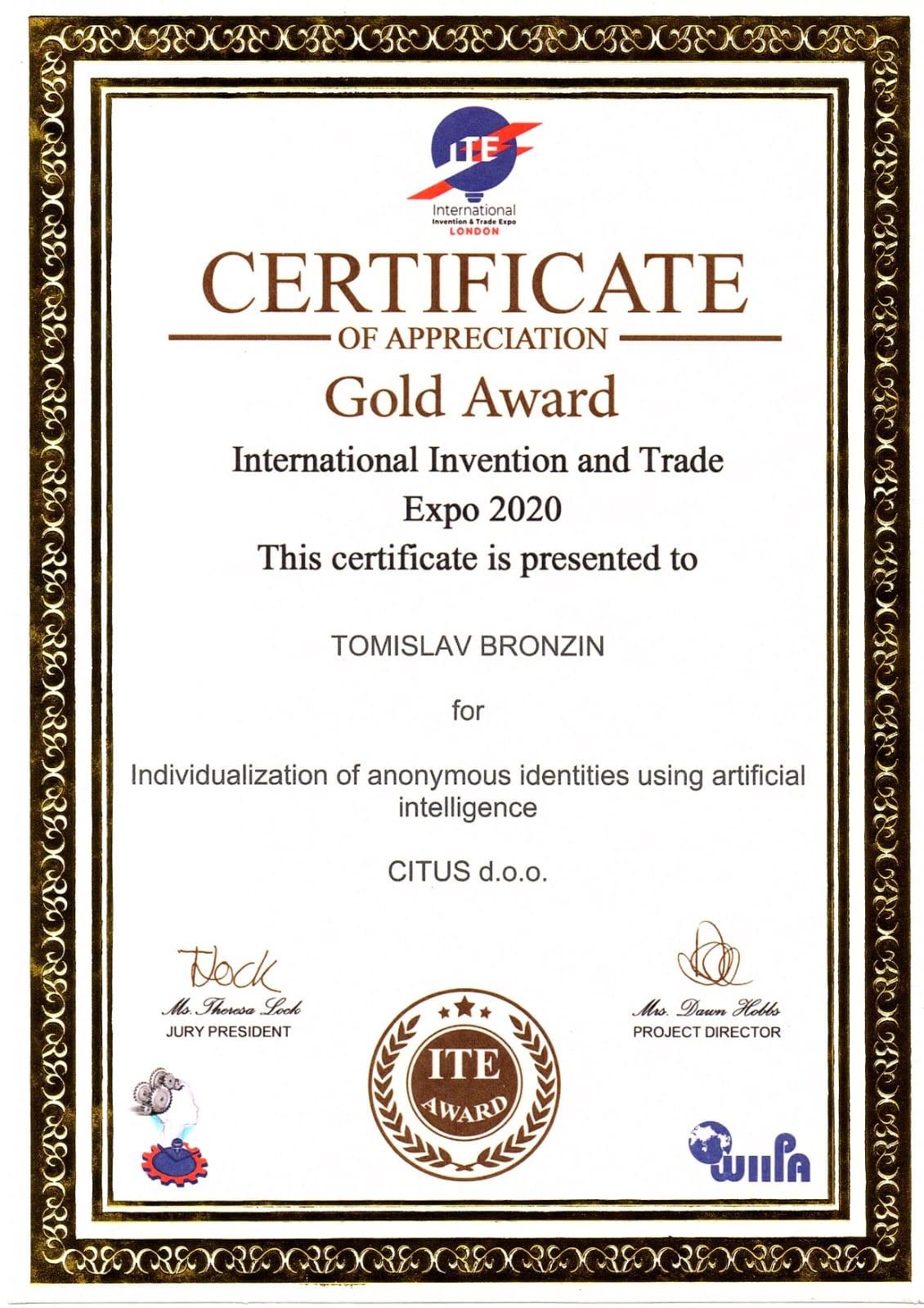 Zlatna medalja, ITE London, Velika Britanija, 2020.