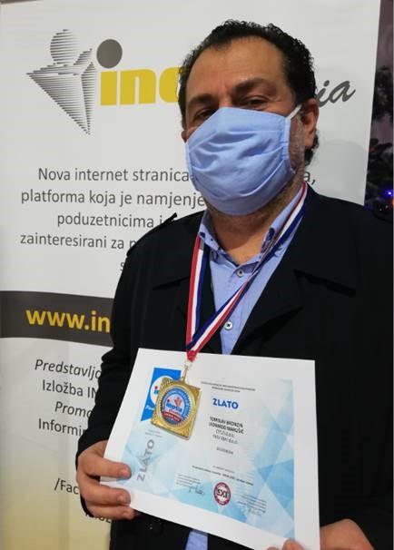 Tomislav Bronzin sa zlatnom medaljom, INOVA Hrvatska, 2020.