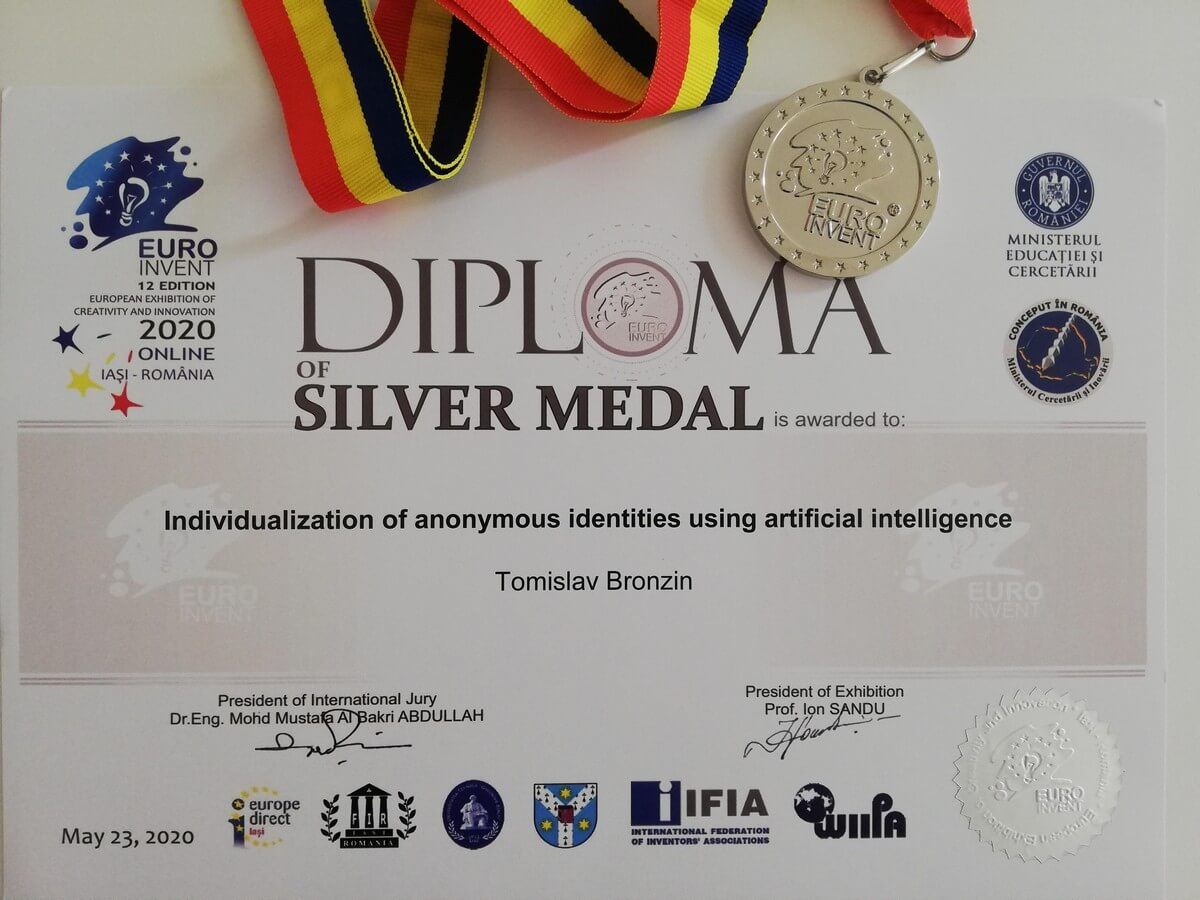 Srebrna medalja, EUROINVENT, Rumunjska 2020.