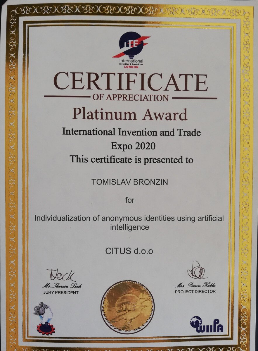 Platinum Award, ITE, Great Britain, 2020