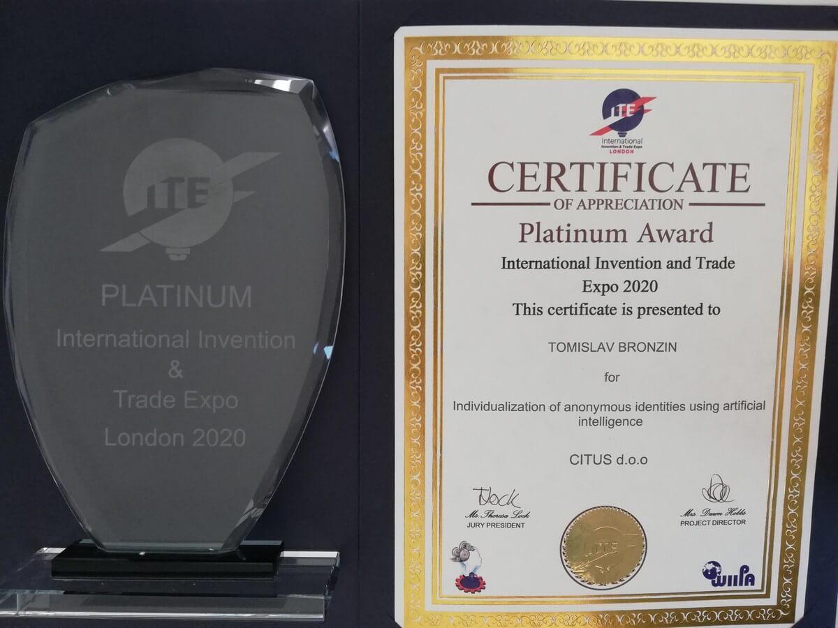 Platinum Award, ITE, Great Britain, 2020