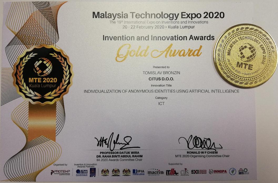 Gold Award, MTE Malaysia, 2020.