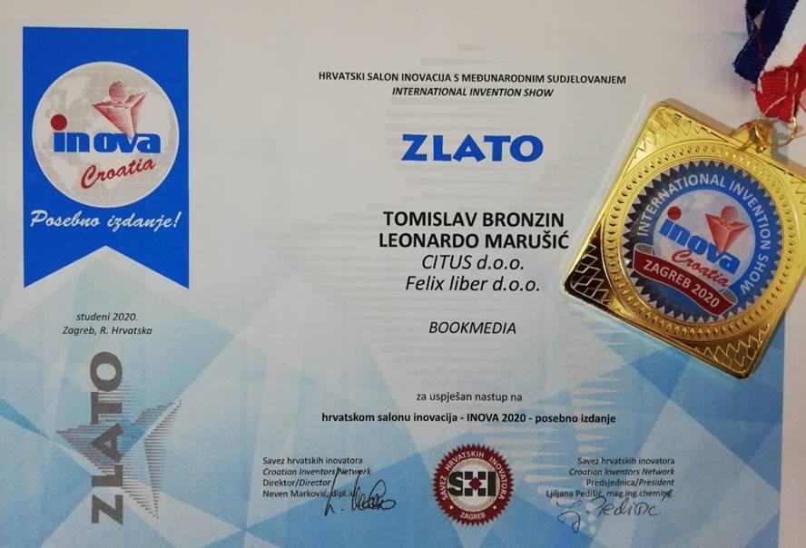 Zlatna medalja, INOVA Hrvatska, 2020.