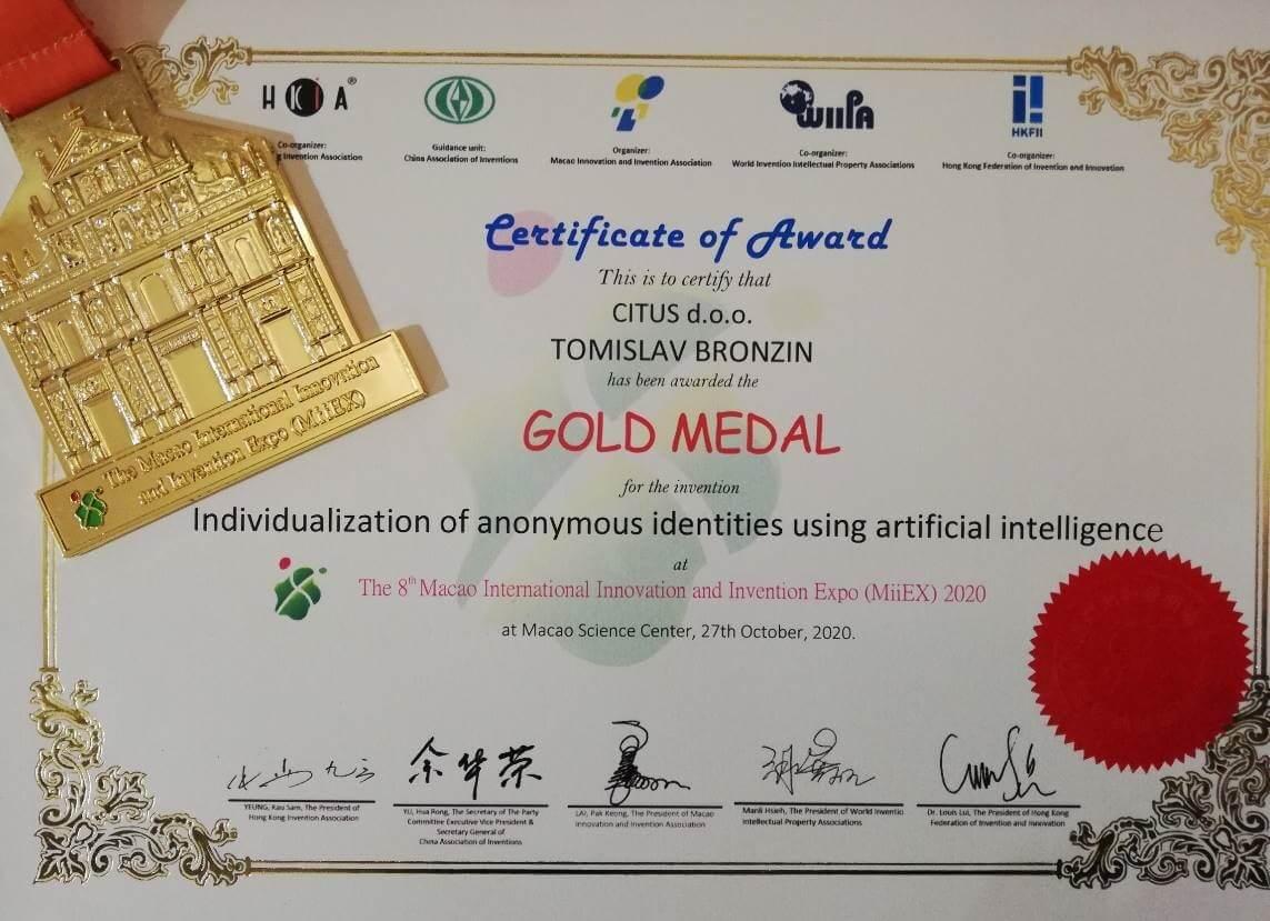 Zlatna medalja, MiiEx Macao, 2020.
