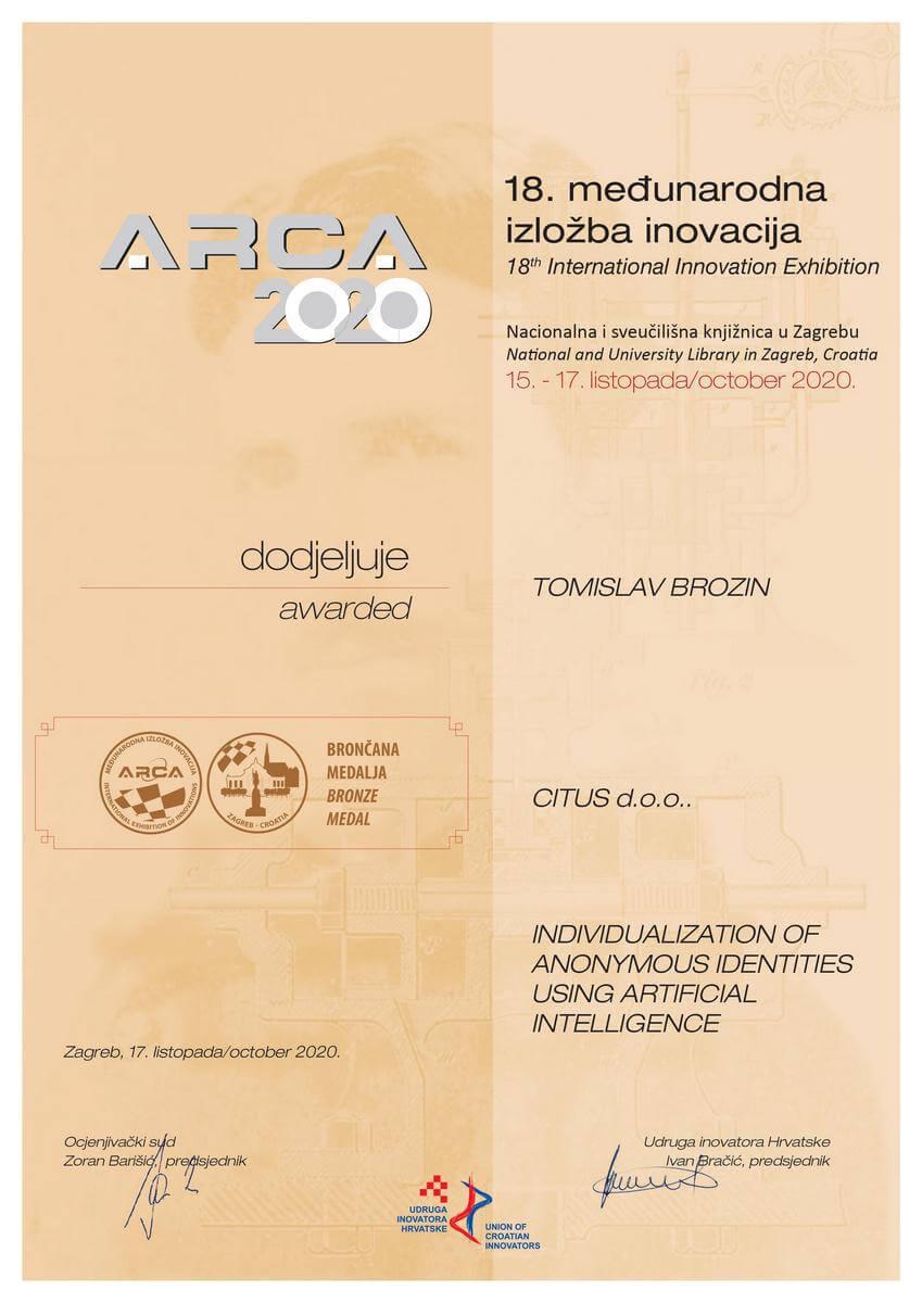 Bronze Medal, ARCA Croatia 2020