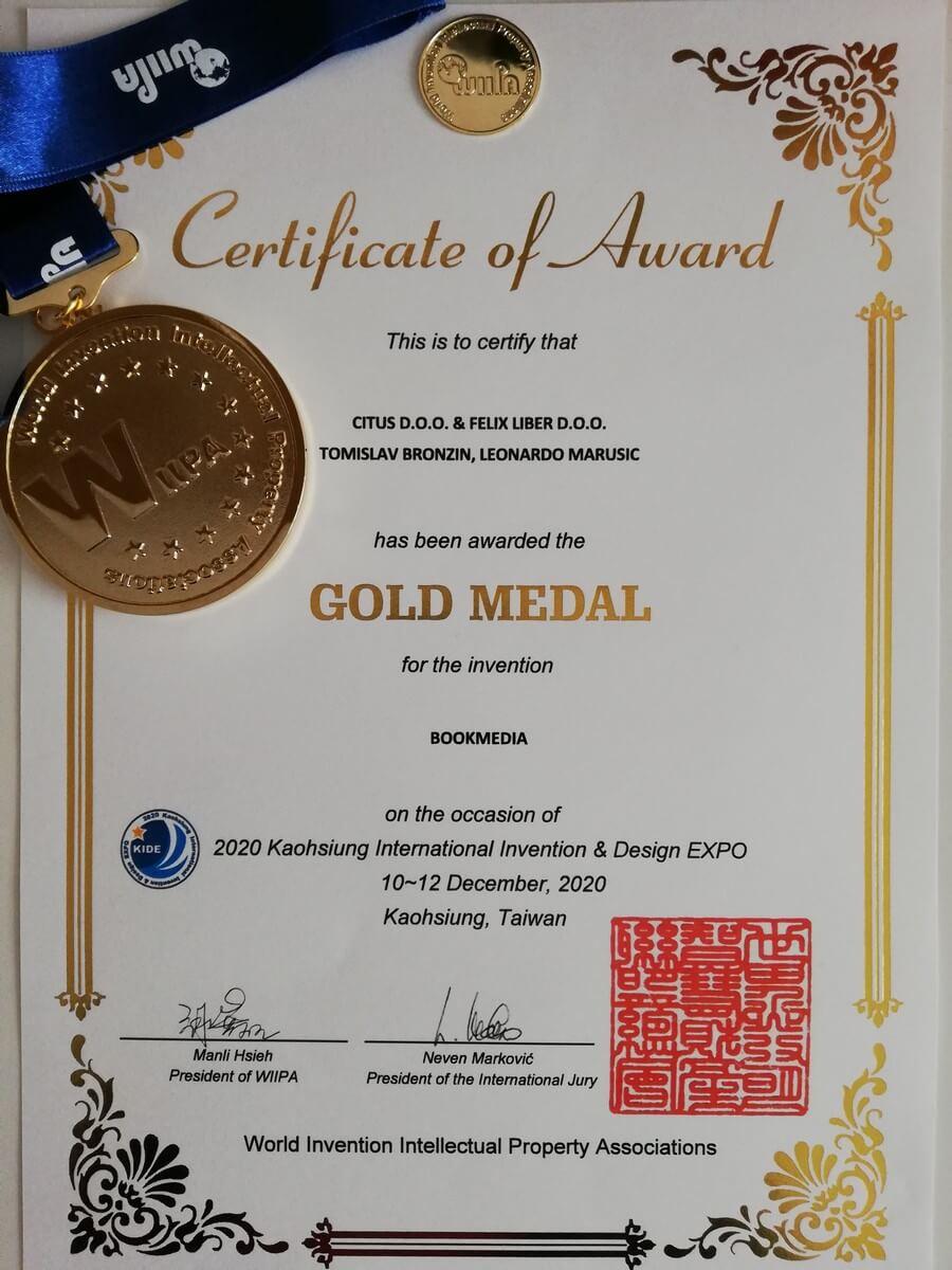 Zlatna medalja, KIDE Tajvan, 2020.