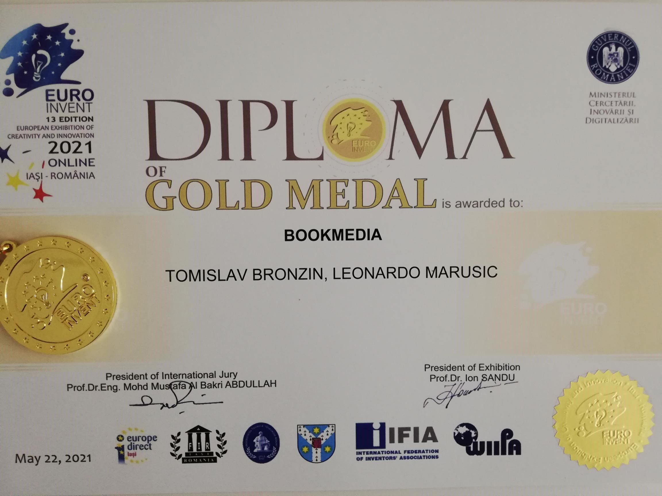 Euro Invent - zlatna medalja za inovaciju BookMedia