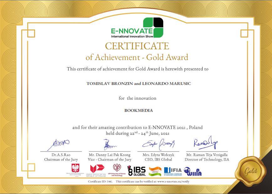 E-NNOVATE - zlatnja medalja za inovaciju BookMedia